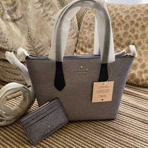 Kate spade joeley small glitter satchel set